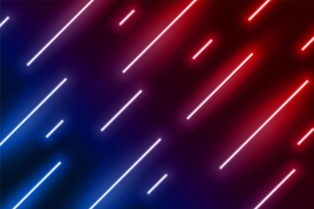 Efekt światła neonowego pokazuje linię w kierunku ukośnym