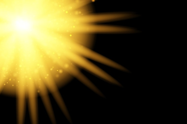 Efekt światła słonecznego ze specjalną lampą błyskową na przezroczystym tle efekt rozmycia światła