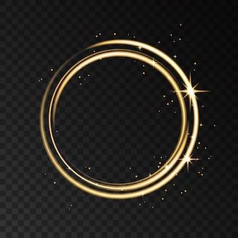 Efekt światła złoty pierścień neon na białym tle