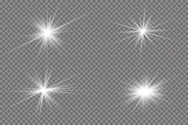 Efekt świecącego światła, flary, eksplozji i gwiazd.
