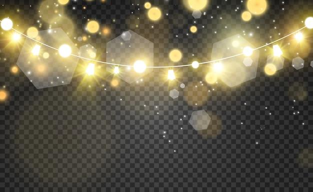 Efekt świecącego światła z dekoracjami w postaci girland
