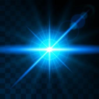Efekt świeci jasnoniebieską soczewką. realistyczne efekty świetlne. świeci słońce, blask, promienie świetlne.