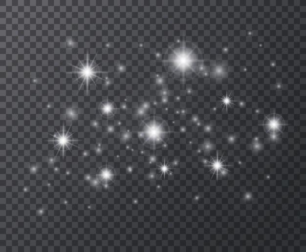 Efekt świetlny. białe iskry i błyszczące gwiazdy, błysk flary.