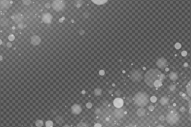 Efekt świetlny białego spojrzenia bokeh na przezroczystym tle.