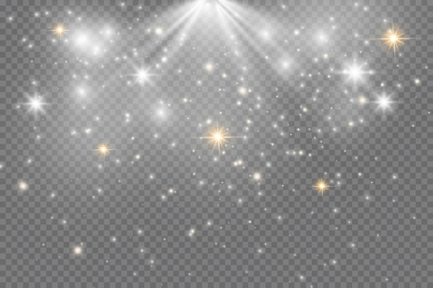 Efekt świetlny blasku. blask na białym tle. lśniące magiczne cząsteczki kurzu.