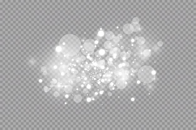 Efekt świetlny blasku. błyskawiczny pył. białe iskry i brokat specjalny efekt świetlny. lśniące, magiczne cząsteczki kurzu.
