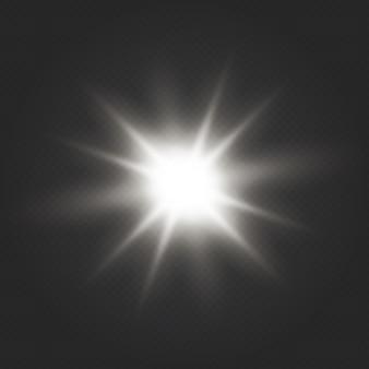 Efekt świetlny blasku. gwiazda wybuchła iskierkami. przezroczysty połysk gradientowy brokat, jasny odblask.