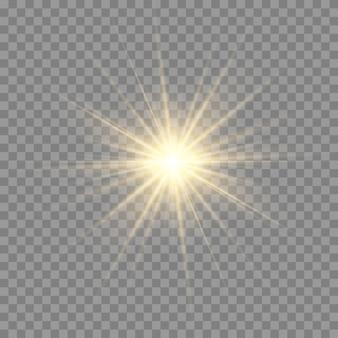 Efekt świetlny blasku. gwiazda wybuchła iskierkami. słońce.