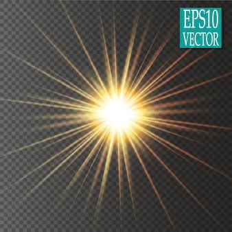 Efekt świetlny blasku. gwiazda wybuchła iskierkami. złote świecące światła.