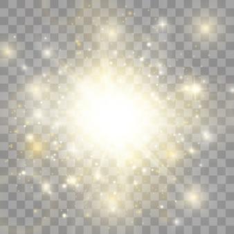 Efekt świetlny blasku. gwiazda wybuchła iskierkami