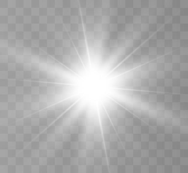 Efekt świetlny blasku. gwiazda wybuchła iskierkami.