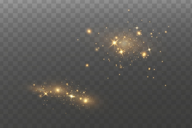 Efekt świetlny blasku. pył iskry i złote gwiazdy świecą specjalnym światłem