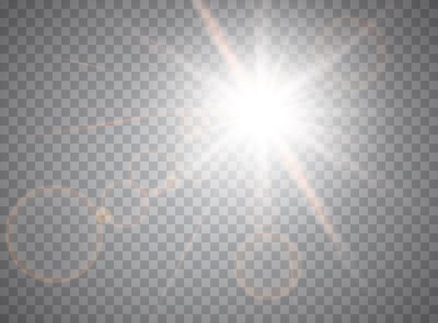 Efekt świetlny blasku. słońce.
