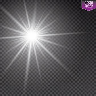 Efekt świetlny blasku. starburst z błyszczy na przezroczystym tle. ilustracji wektorowych. niedz. eps 10