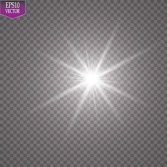 Efekt świetlny blasku. starburst z błyszczy na przezroczystym tle ilustracji.