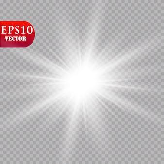 Efekt świetlny blasku. starburst z błyszczy na przezroczystym tle. . słońce