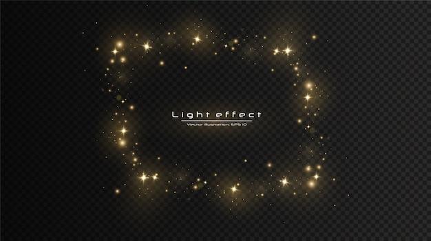 Efekt świetlny blasku. wektor błyszczy. lśniące magiczne cząsteczki pyłu, iskry pyłu i złote gwiazdy świecą specjalnym światłem.