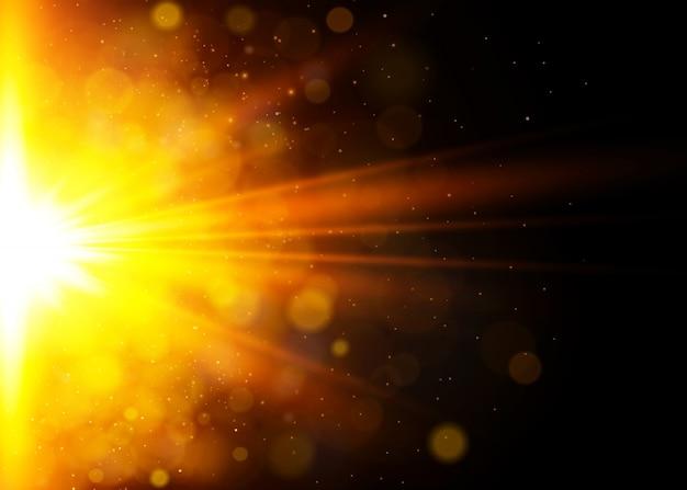 Efekt świetlny. błysk słońca z promieniami i reflektorem