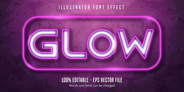 Efekt świetlny edytowalny styl czcionki z neonem