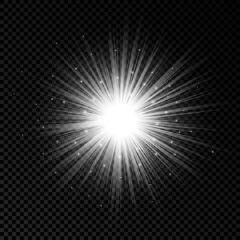 Efekt świetlny flar obiektywu. białe świecące efekty starburst z iskierkami na przezroczystym tle. ilustracja wektorowa