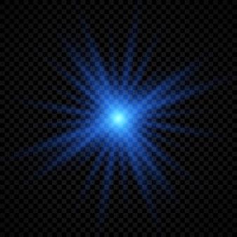 Efekt świetlny flar obiektywu. niebieskie świecące efekty starburst z iskierkami na przezroczystym tle. ilustracja wektorowa