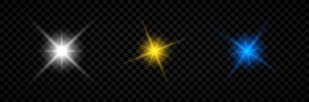 Efekt świetlny flar obiektywu. zestaw trzech białych, żółtych i niebieskich świecących efektów starburst z błyskami na przezroczystym tle. ilustracja wektorowa