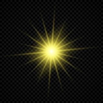Efekt świetlny flar obiektywu. żółte świecące efekty starburst z iskierkami na przezroczystym tle. ilustracja wektorowa