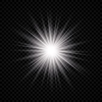 Efekt świetlny flary obiektywu. białe, świecące światło eksploduje z efektem rozbłysku i błyszczy na przezroczystym tle. ilustracja wektorowa