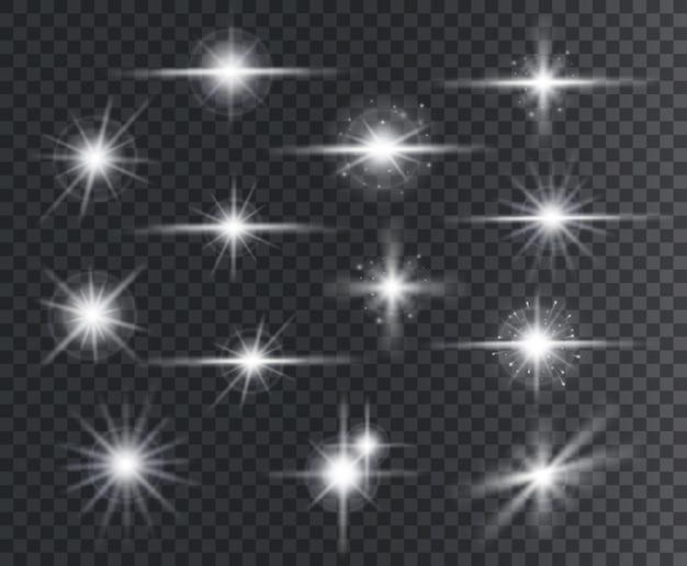 Efekt świetlny. flary soczewkowe, efekty rozbłysku światła świecącego z iskierkami i promieniami.