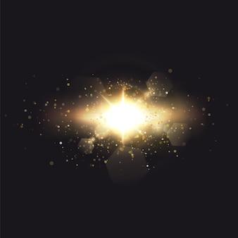 Efekt świetlny flary specjalnej soczewki słonecznej.