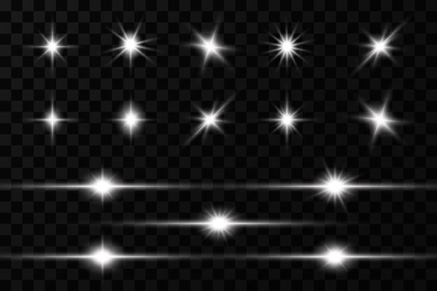 Efekt świetlny. jasna gwiazda. jasne słońce zaszło