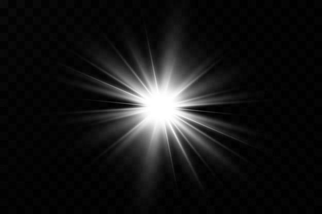 Efekt świetlny. jasna gwiazda. jasne słońce