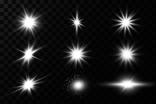 Efekt świetlny. jasna gwiazda. światło wybucha na przezroczystym tle. jasne słońce