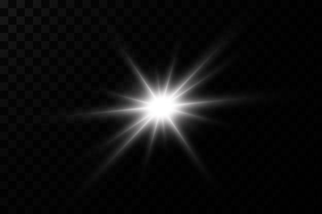 Efekt świetlny. jasna gwiazda. światło wybucha na przezroczystym.