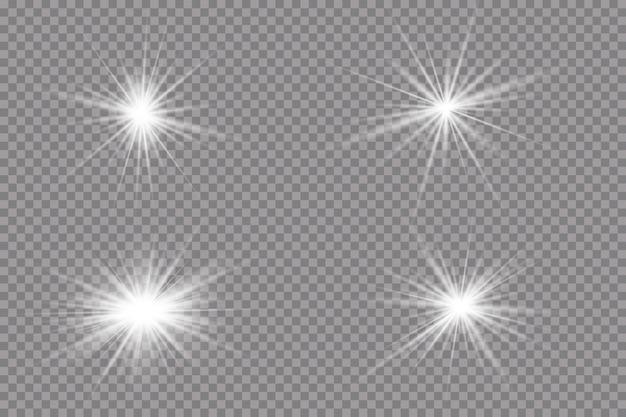 Efekt świetlny. jasna gwiazda światło wybucha na przezroczystym
