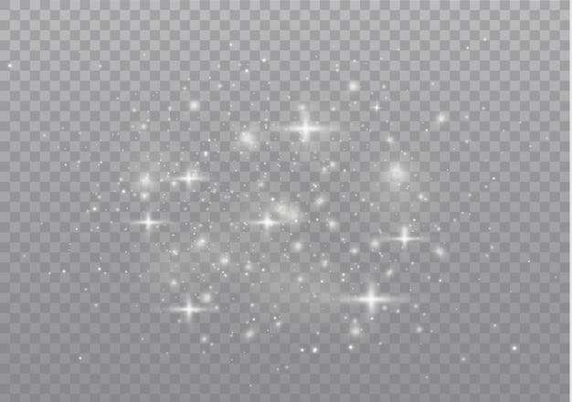 Efekt świetlny. lśniące magiczne cząsteczki kurzu