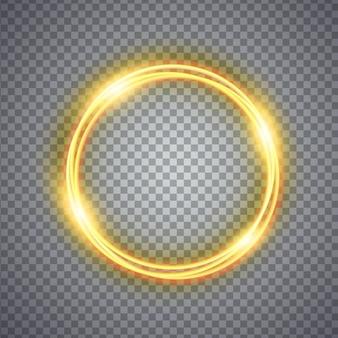 Efekt świetlny magicznego złotego koła. ilustracja na białym tle. koncepcja graficzna dla twojego projektu