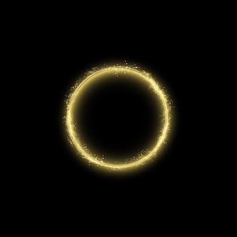 Efekt świetlny magicznego złotego koła. ilustracja na białym tle