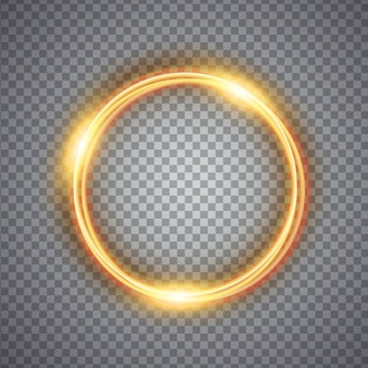 Efekt świetlny magicznego złotego koła. ilustracja na białym tle.