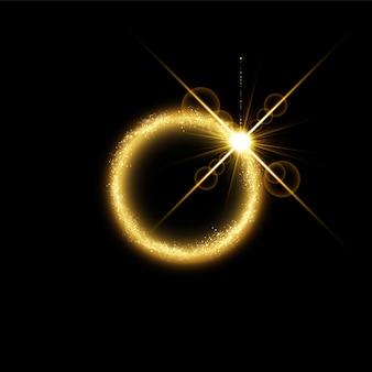 Efekt świetlny magicznego złotego koła.