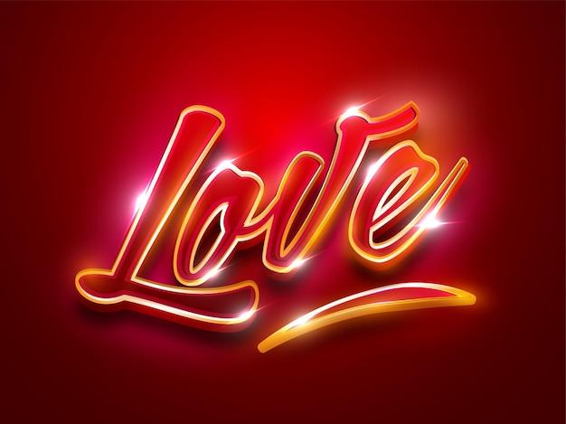 Efekt świetlny miłość czcionka na czerwonym tle.