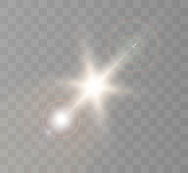 Efekt świetlny. nowa gwiazda, jasne słońce.