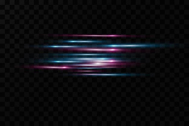 Efekt świetlny ruchu dla banerów. niebieskie linie. efekt prędkości na niebieskim tle. czerwone linie światła, prędkości i ruchu. flara obiektywu.