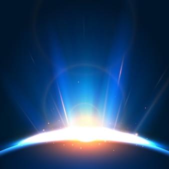 Efekt świetlny streszczenie wschód słońca