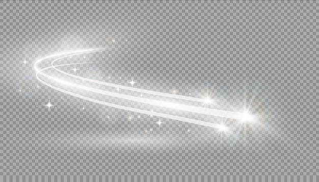 Efekt świetlny, światło gwiazd, gwiezdny pył. świecące światło. szlak. kometa.