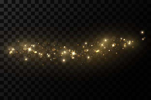 Efekt świetlny świecący, świecące magiczne cząsteczki pyłu, iskry pyłu i złote gwiazdy