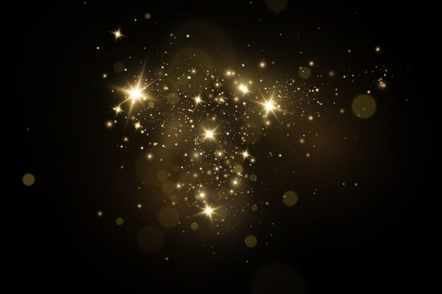 Efekt świetlny świecący, świecące magiczne cząsteczki pyłu, iskry pyłu i złote gwiazdy.