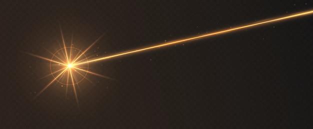 Efekt świetlny wiązki laserowej pomarańczowy na przezroczystym tle. promień światła neonowego z błyskami.