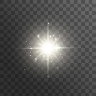 Efekt świetlny. wybuch gwiazdy z iskierkami. jasna gwiazda.