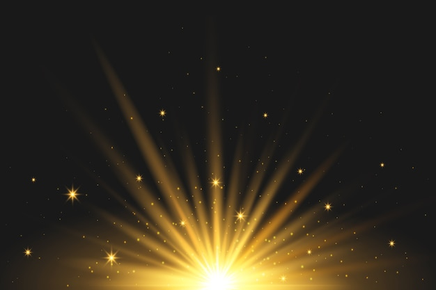 Efekt świetlny z iskrzącym wschodem słońca